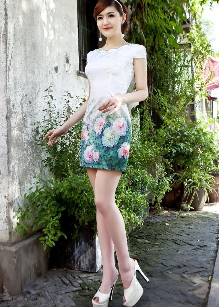 绣球 圆领时尚改良棉旗袍裙短款短袖旗袍连衣裙