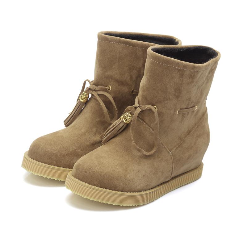 【《洛丽塔》韩版简约磨砂流苏短靴】-鞋子-靴子_女鞋