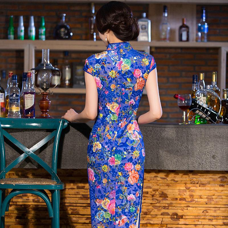宝蓝玫瑰 新款秋季丝绒长款旗袍裙 礼服