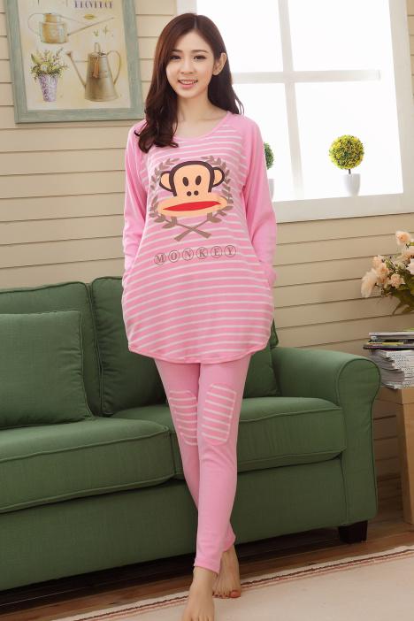 韩国初秋可爱大嘴猴睡衣套装