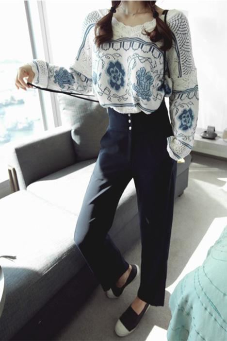 【复古青花瓷花朵花边套头针织衫】-衣服-针织衫