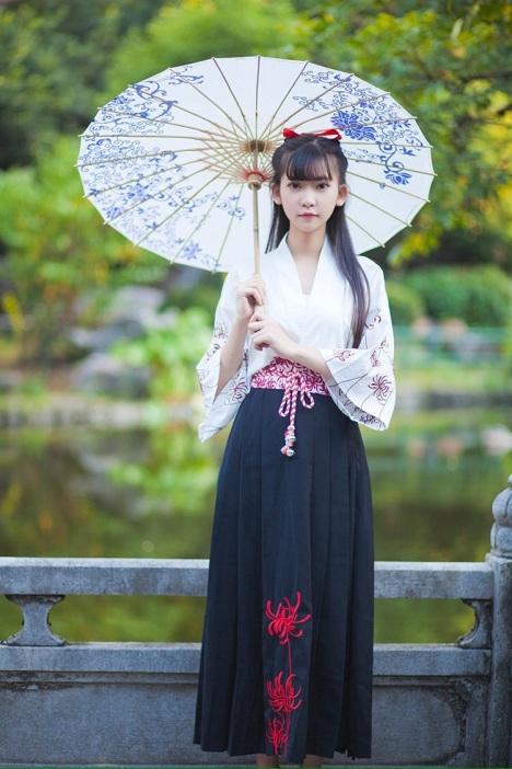 【彼岸花黑色蔷薇和风半裙日式】-半身裙