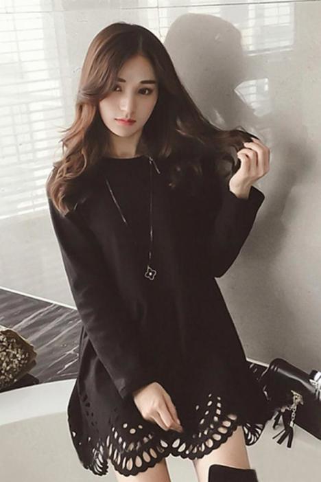 【韩版宽松显瘦纯黑色花边镂空毛呢连衣裙】-衣服