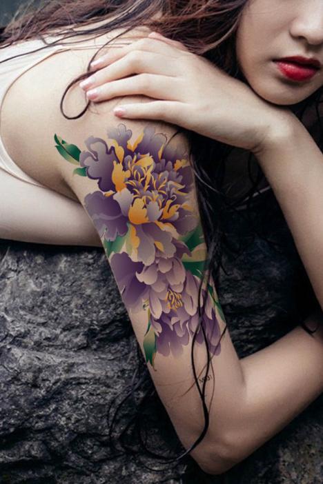 纹身防水男女紫色牡丹水墨风格花臂纹身贴彩色牡丹纹身贴纸135