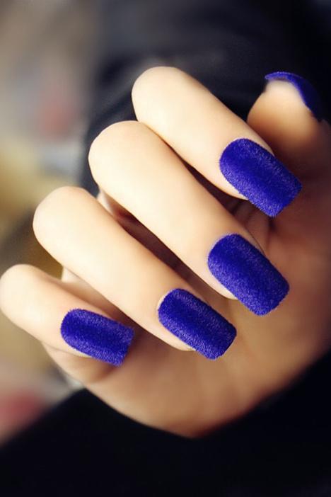 假指甲,指甲贴,美甲贴,甲片,丝绒美甲,蓝色美甲图片
