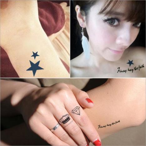 【满13元包邮】韩国黑色原宿风时尚防水纹身贴字母纹身彩绘贴纸