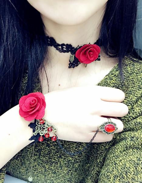 手工定制原宿复古蕾丝纹身项链女脖带颈圈个性锁骨链