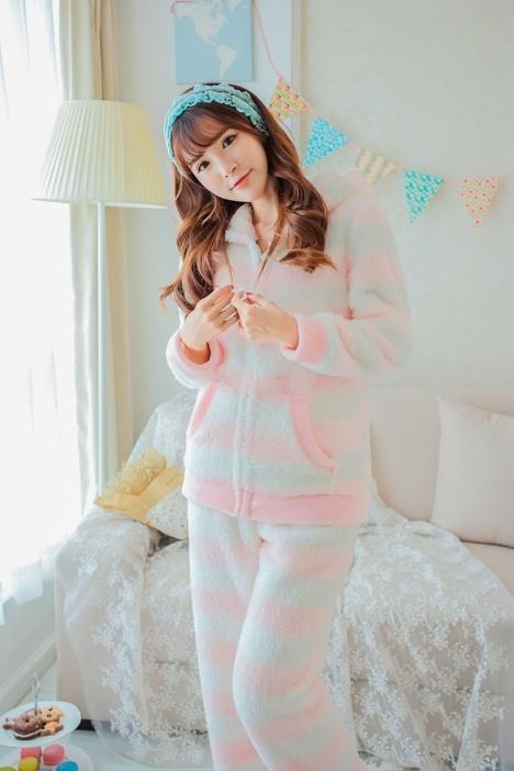 睡衣,小清新,条纹,可爱,学生,两件套,冬季