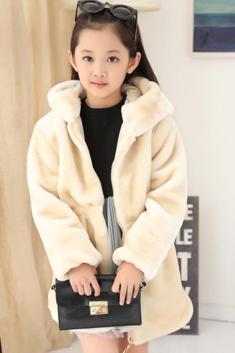 女童加厚外套,女孩冬款上衣,儿童毛毛大衣,保暖棉衣,韩版公主,中长款