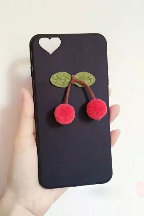 毛绒小樱桃iphone6s/6/plus超薄包边手机壳