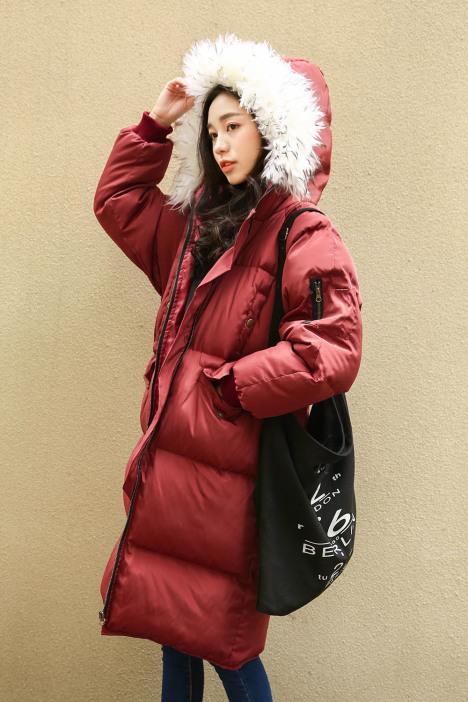 长款棉衣女,大毛领棉服,宽松面包服,大码纯色棉衣,冬装加厚,韩国学院