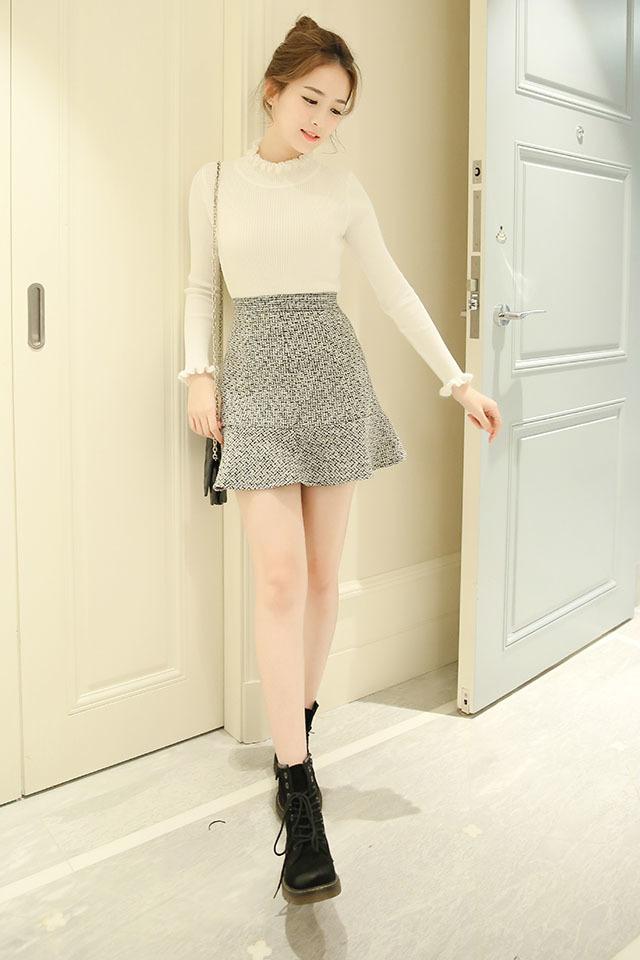 【荷叶边鱼尾裙】-衣服-半身裙