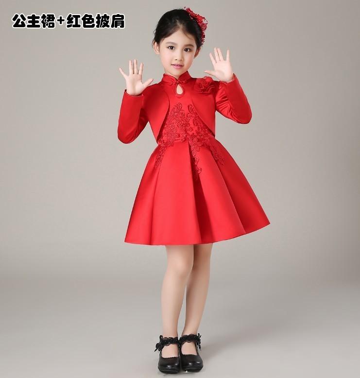 儿童礼服裙秋冬公主蓬蓬裙女童花童生日演出服中式旗袍过年衣服