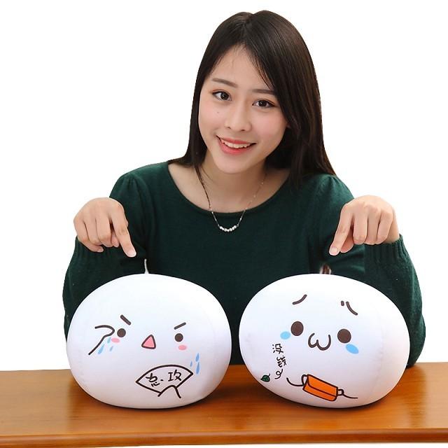 可爱文字君馒头抱枕毛绒玩具创意颜团子靠垫表情送闺蜜生日礼物女