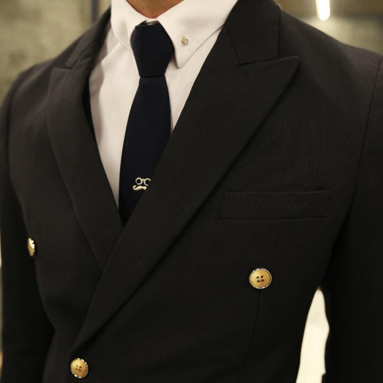 2016春装新款韩版纯色双排扣西装套装男修身小西服男三件套