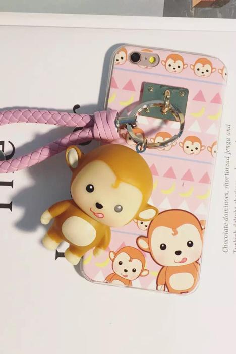可爱福气亮灯猴子苹果6s手机壳iphone6保护套创意玩具