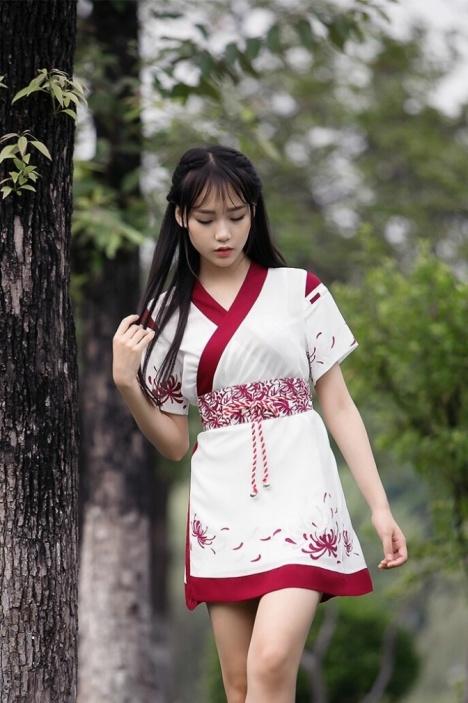 【彼岸花图案两穿和风连衣裙三件套】-衣服-连衣裙