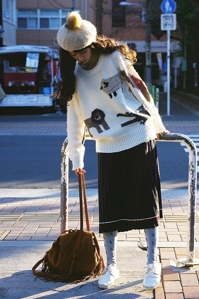 三猫森系屋#森女日系可爱小动物宽松毛衣