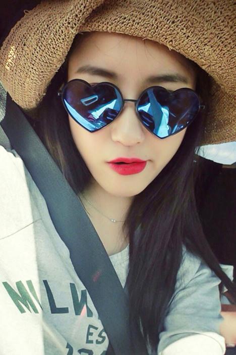 椭圆形脸潮人,新款个性欧美,心形可爱太阳镜,防紫外线遮阳镜,太阳眼镜