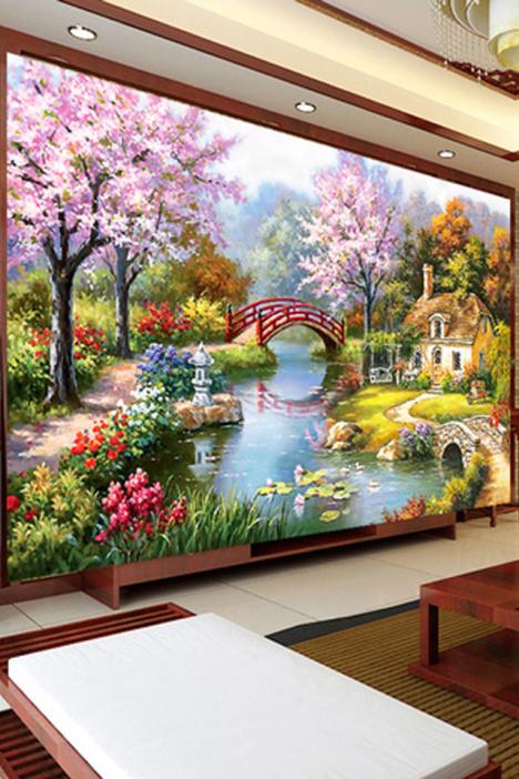 印花十字绣新款客厅欧式油画花园小屋山水风景画十字绣客厅大幅