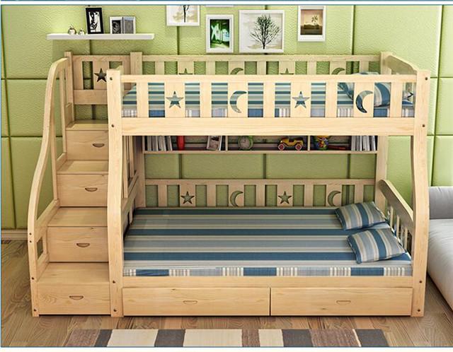 儿童全实木高低床上下铺双层床子母床母子床提柜床上下床