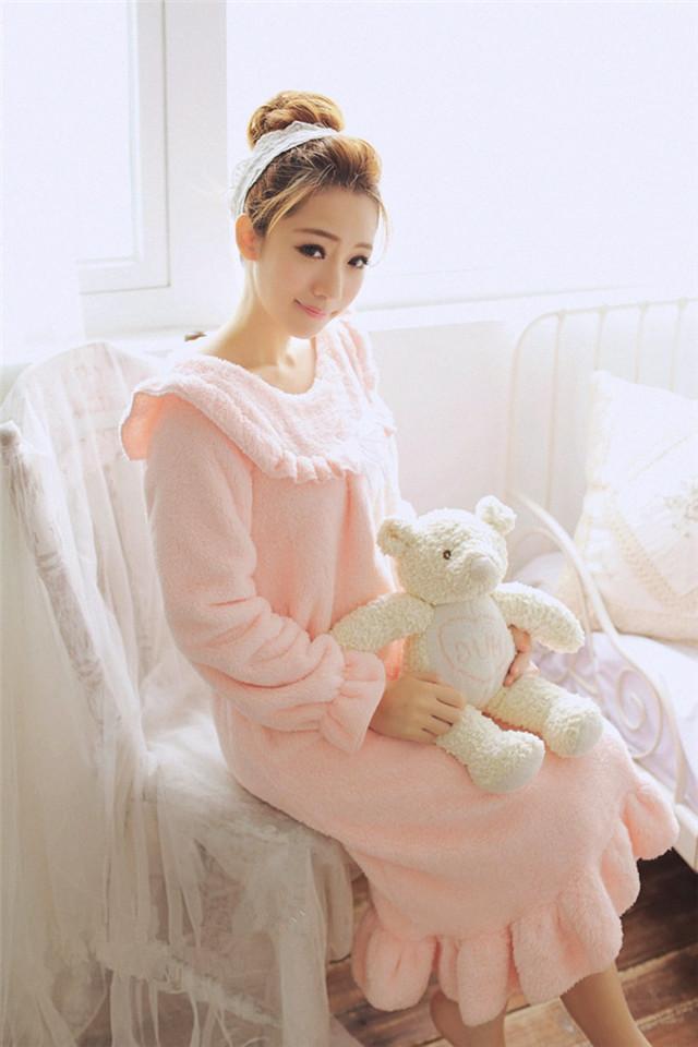 【宫廷风珊瑚绒宽松睡衣可爱家居连衣裙】-衣服-女士