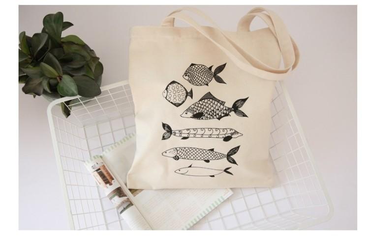 简笔鱼帆布单肩包有拉链学生书包购物袋软妹休闲帆布包户外运动包