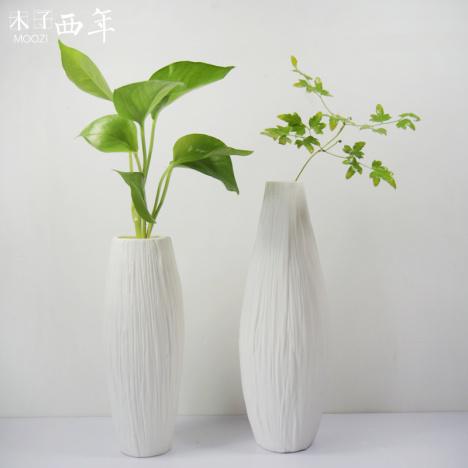 【包邮简约白色素烧陶瓷花瓶摆件客厅欧式现代花艺】