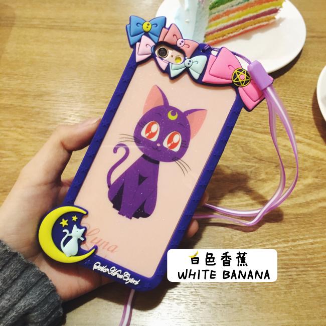【美少女战士iphone6s露娜猫边框手机壳6p挂绳苹果6