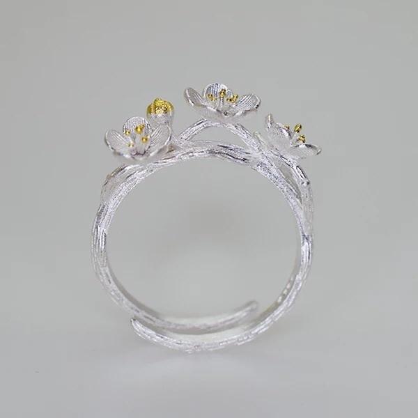s925纯银梅花开口戒指 手工雕塑银饰描金东方禅意传统