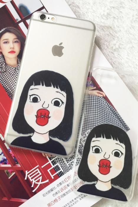 iphone恶搞可爱嘟嘴短发女孩手机壳硅胶软壳