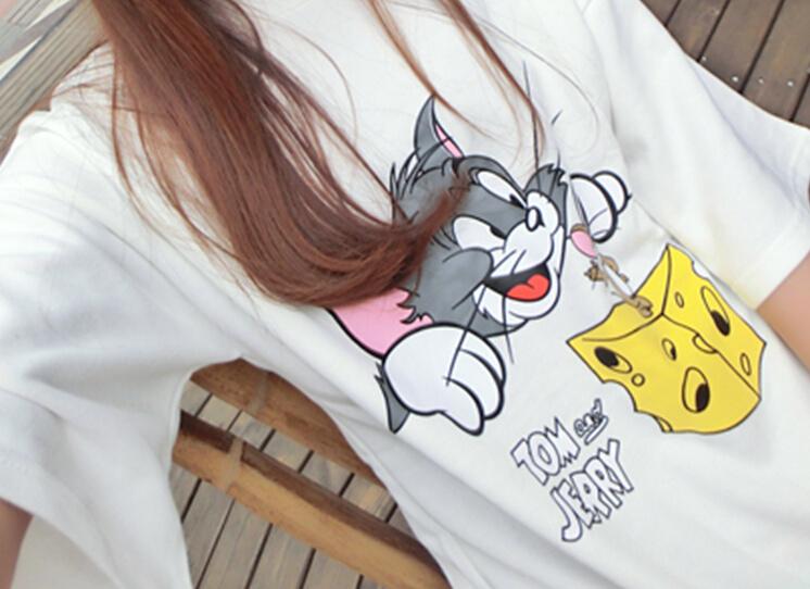 2016新款可爱猫和老鼠字母印花t恤