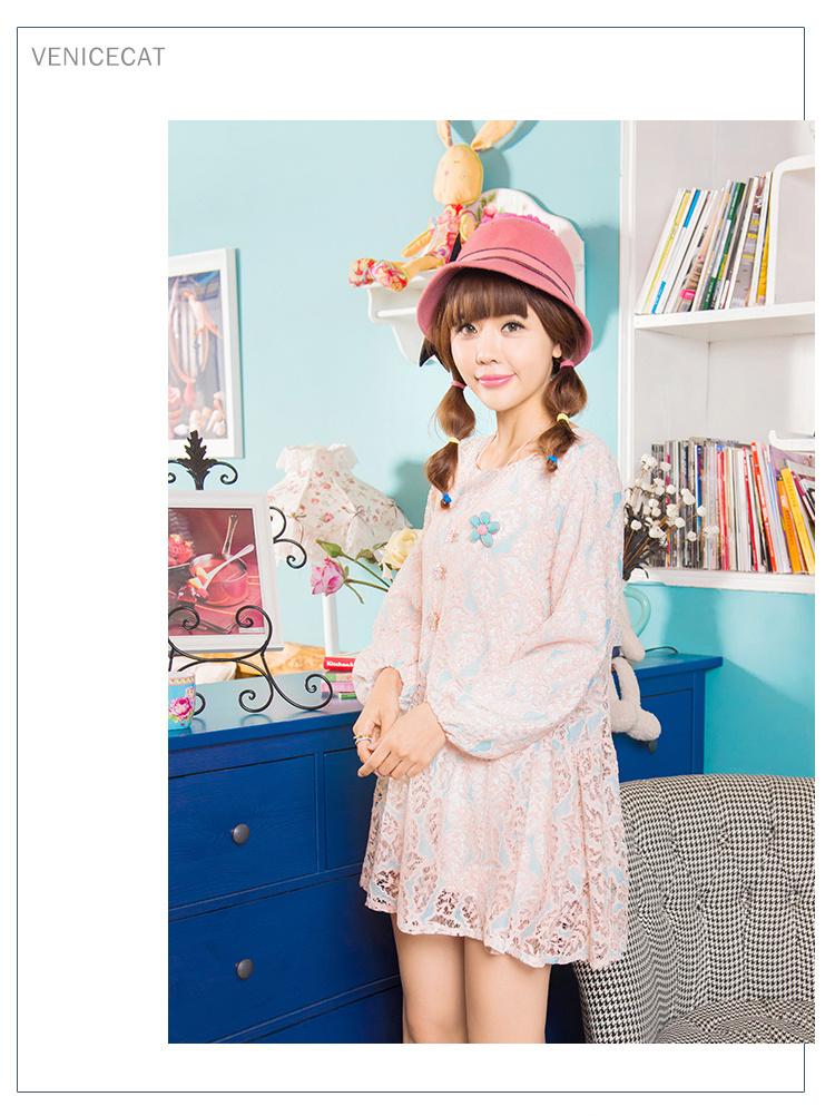春季新品甜美洛丽塔森女宽松腰灯笼袖大摆长袖粉蓝拼色蕾丝连衣裙