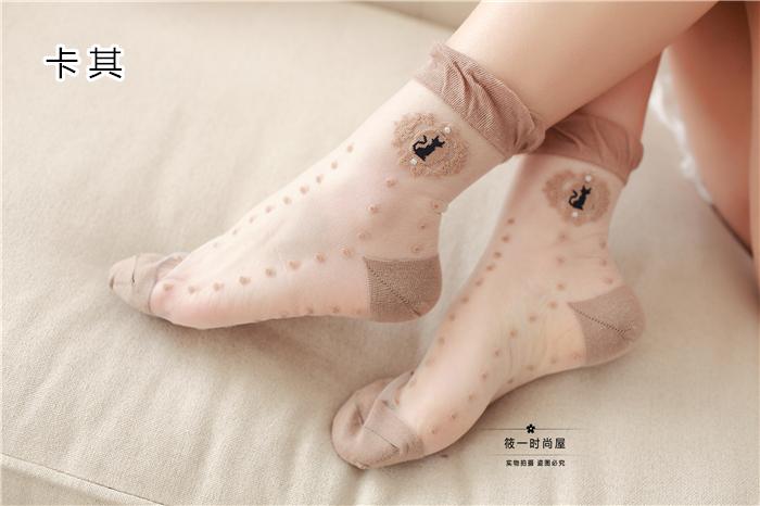 猫咪玻璃丝袜 水晶中筒短袜