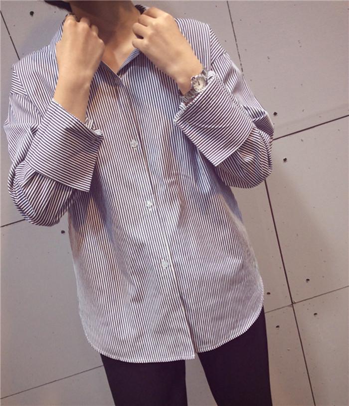 韩国随性竖条纹宽袖口衬衣