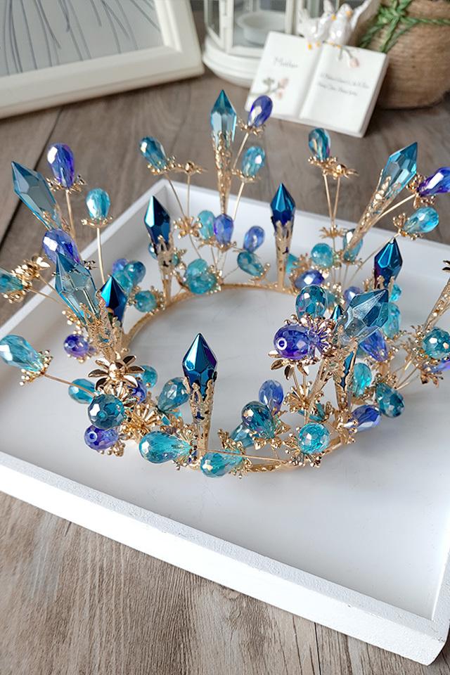 欧式复古圆皇冠新娘头饰水晶夸张造型影楼写真走秀舞台结婚发饰品图片