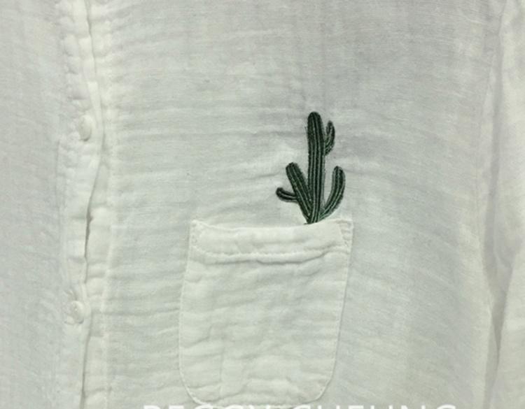 【【木乃坊】仙人掌刺绣图案衬衫】-衣服-服饰鞋包
