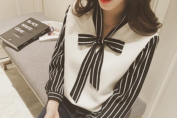 【韩版v领假两件蝴蝶结衬衫】-衣服-服饰鞋包