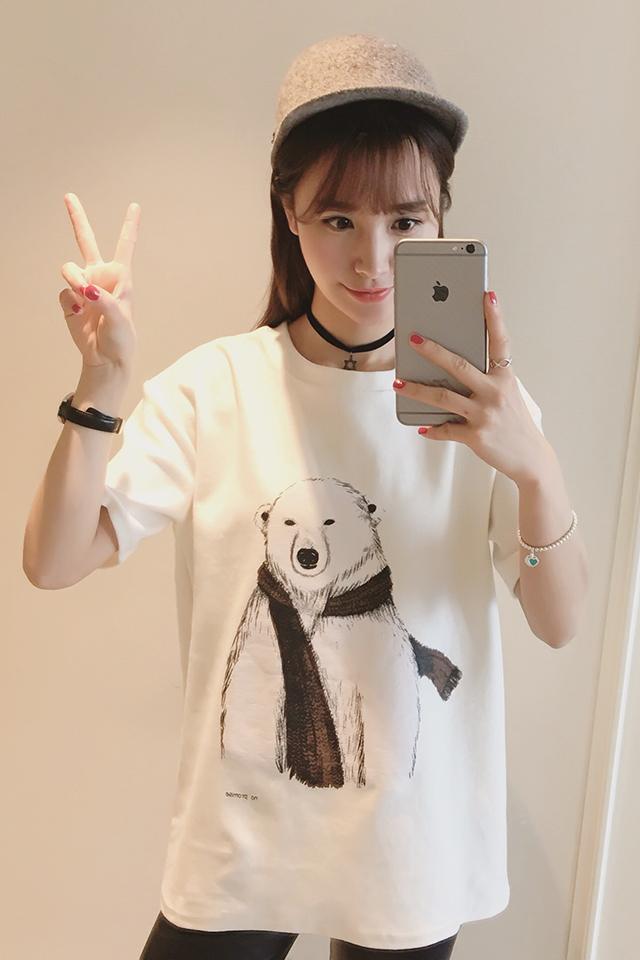 【韩版学院风小熊印花t恤】-衣服-服饰鞋包_女装_上装