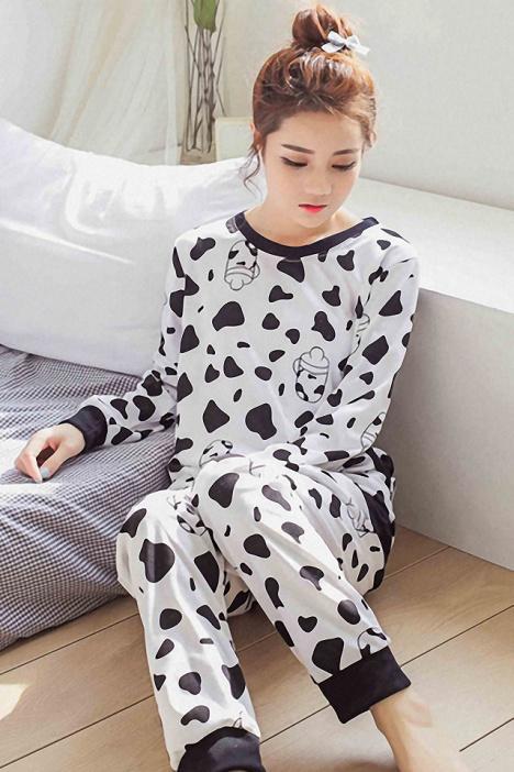 【韩版卡通牛奶瓶休闲睡衣套装】-内衣-女士内衣
