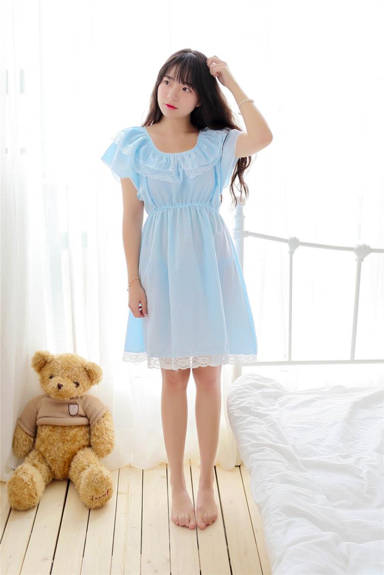 【(3色可选)小清新蕾丝花边公主睡裙~薄款】-内衣