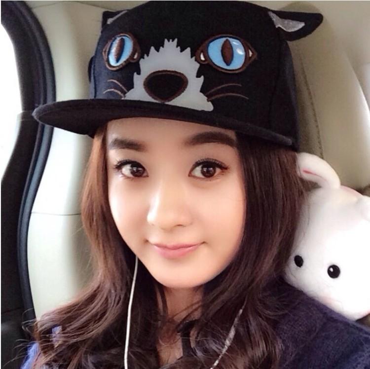 赵丽颖同款猫咪刺绣嘻哈棒球帽