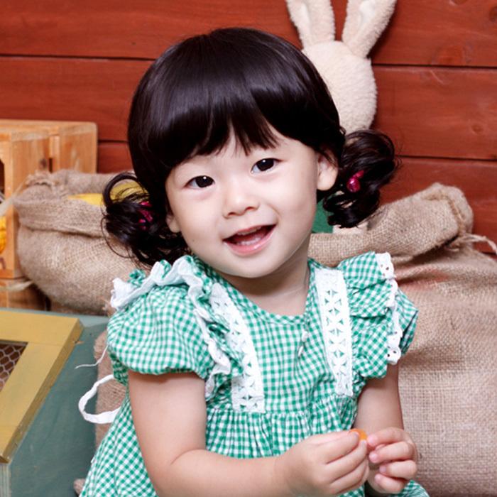 【韩秀】齐刘海儿童短发卷发气质小孩假发