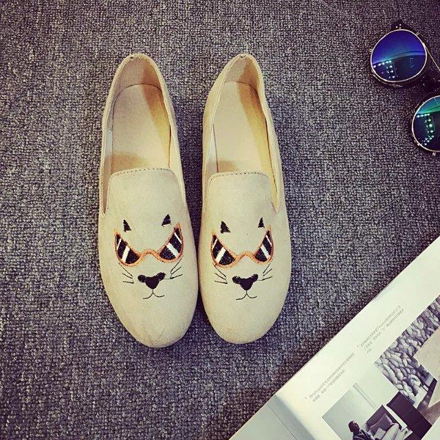 圆头可爱猫咪单鞋猫脸学生鞋呛口小辣椒同款欧美平底女鞋豆豆鞋子