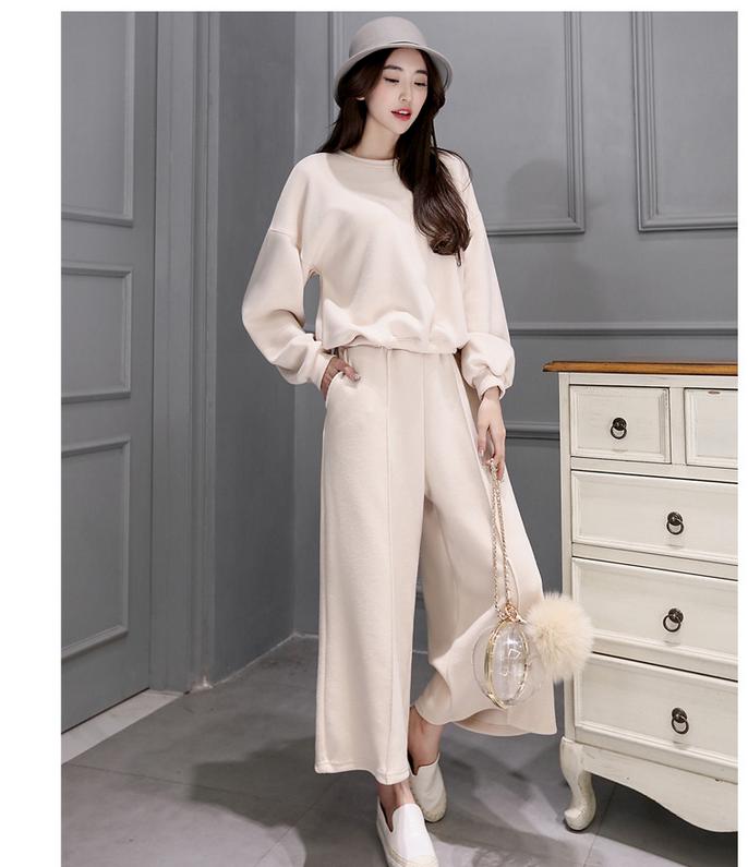 春装两件套韩版长袖针织衫搭配阔腿裤宽松休闲时尚套装