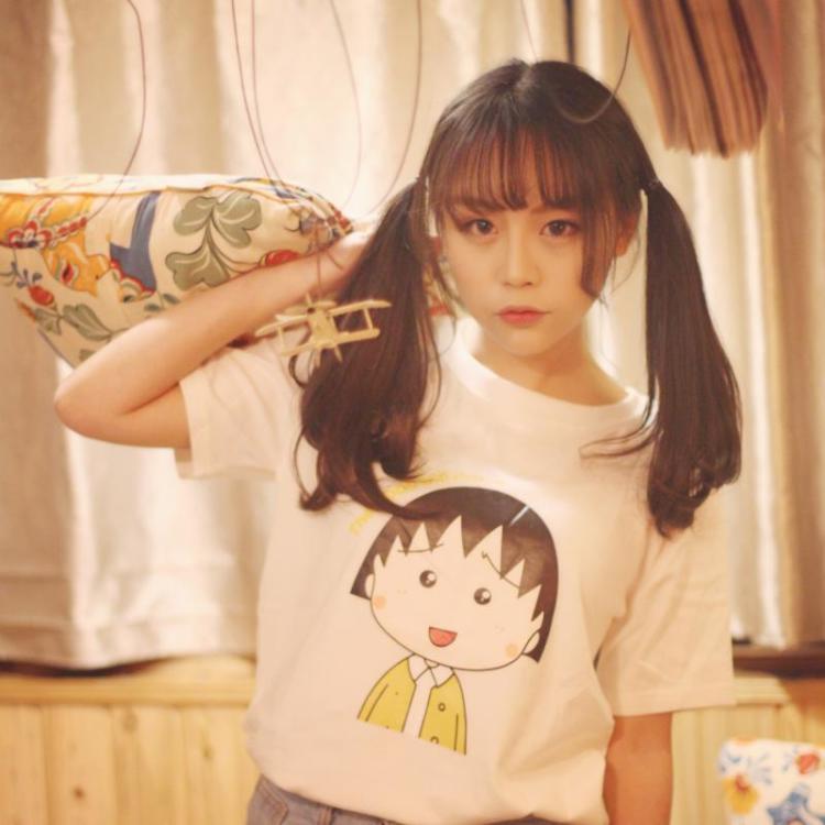 【【橙子】韩版新款闺蜜装卡通小丸子头像可爱宽松