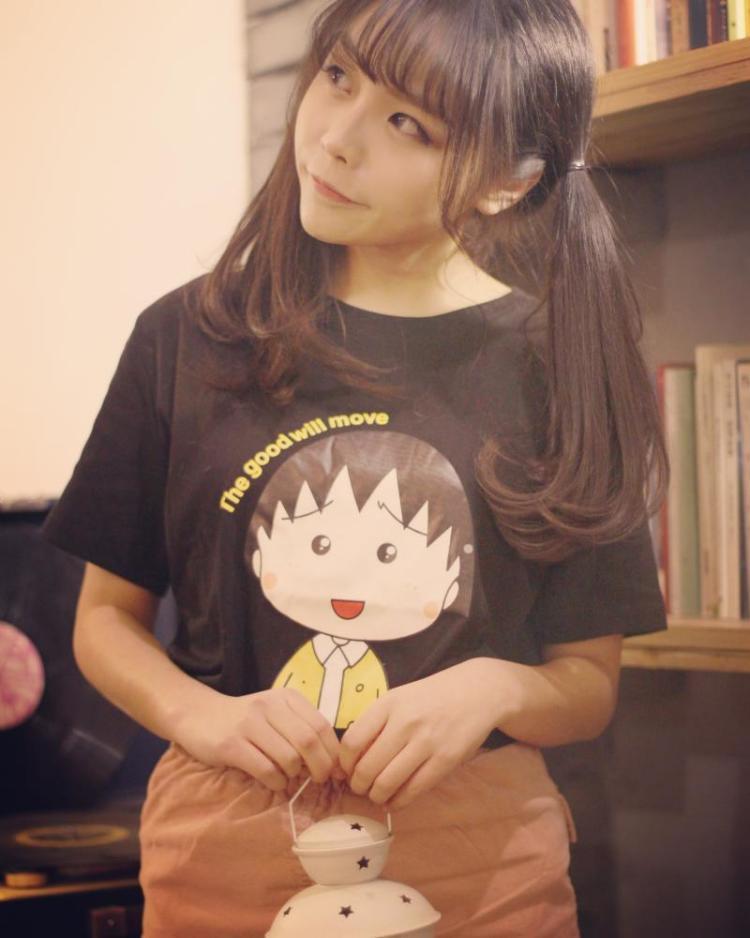 【橙子】韩版新款闺蜜装卡通小丸子头像可爱宽松磨毛短袖t恤