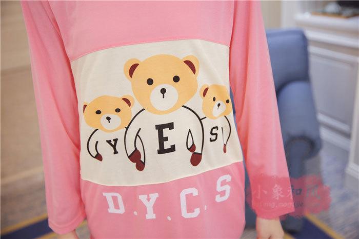 【【小象】可爱三只小熊yes卡通睡衣套装】-内衣