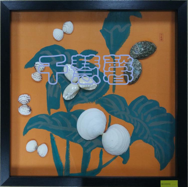 清雅绿叶贝壳水粉创意手工装饰画
