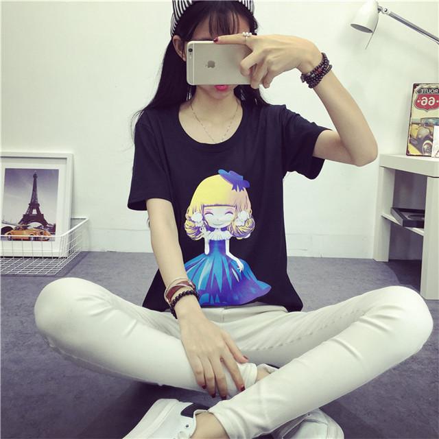 【【韩风时尚衣橱】纯棉可爱小公主短袖t恤】-衣服-鞋